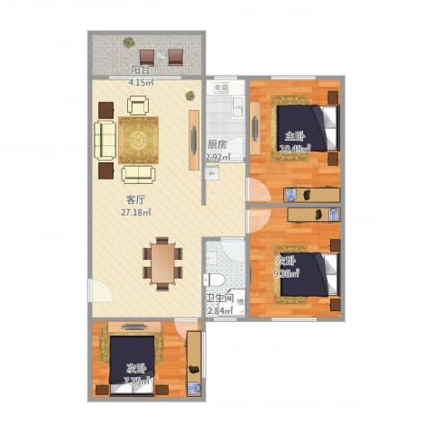 富林居3室1厅1卫1厨88.00㎡户型图