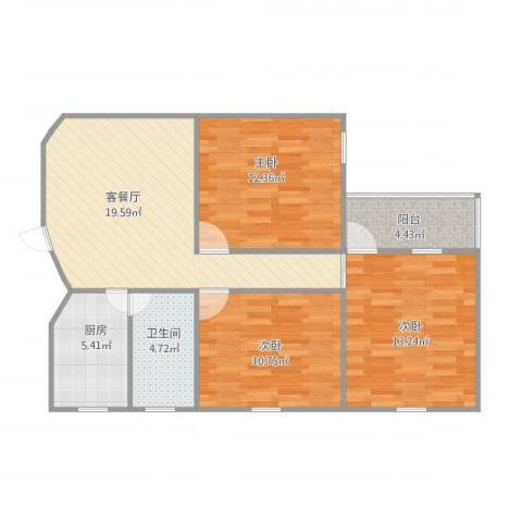 利津小区3室1厅1卫1厨95.00㎡户型图