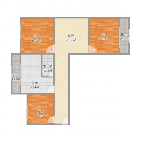 纬北小区3室1厅1卫1厨91.00㎡户型图