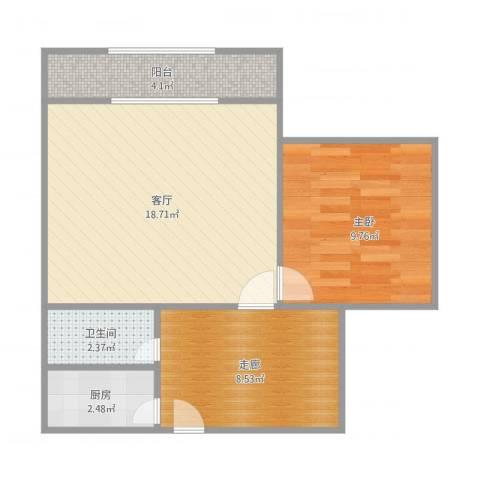 纬北小区1室1厅1卫1厨62.00㎡户型图