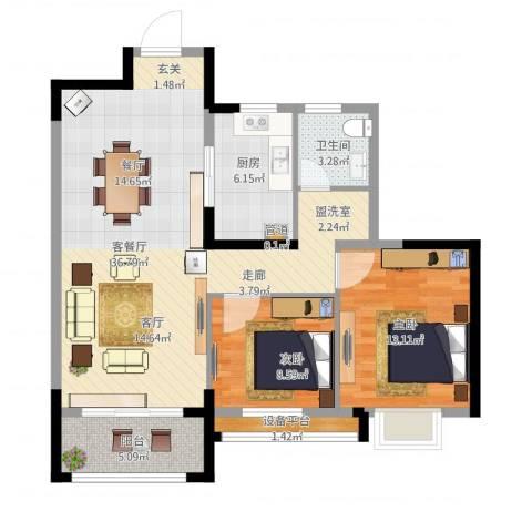 花样年别样城2室1厅1卫1厨106.00㎡户型图