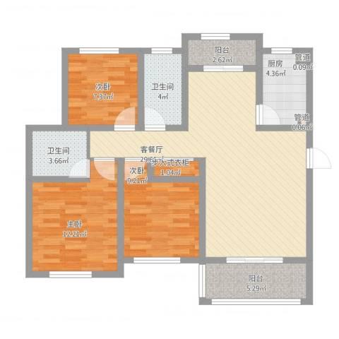 海上印象花园3室1厅2卫1厨117.00㎡户型图