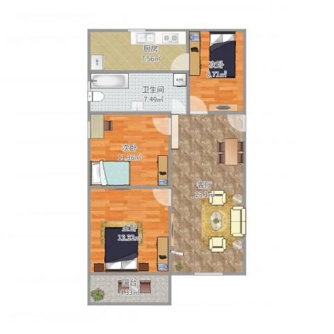 东陆新村六街坊3室1厅1卫1厨102.00㎡户型图