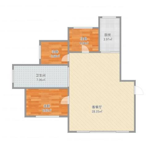 海富经典3室1厅1卫1厨73.00㎡户型图