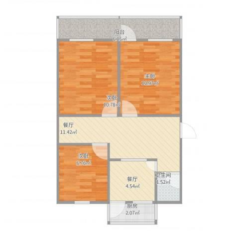 闵子骞路单位宿舍3室2厅1卫1厨75.00㎡户型图