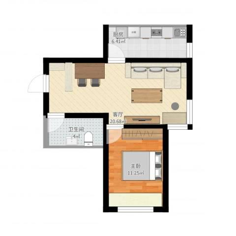 上东城市之光1室1厅1卫1厨62.00㎡户型图