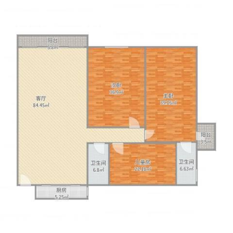 佳翠楼3室1厅2卫1厨277.00㎡户型图