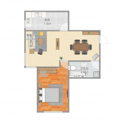 上东城市之光1室1厅1卫1厨63.00㎡户型图