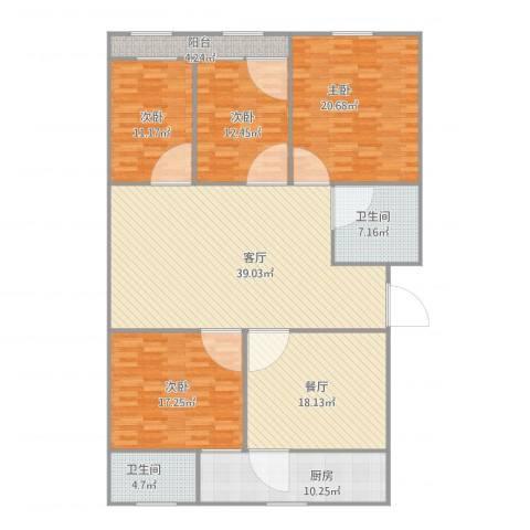 建鑫花园4室2厅2卫1厨154.65㎡户型图