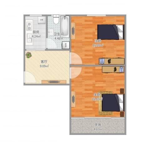 六里二村2室1厅1卫1厨75.00㎡户型图