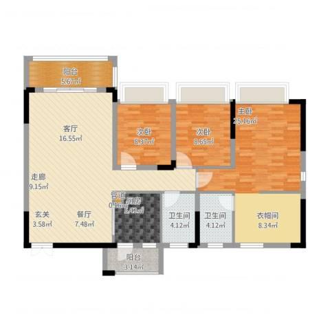 美丽湾畔花园3室1厅2卫1厨144.00㎡户型图
