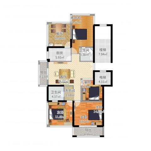 加州水郡一期3室2厅2卫1厨159.00㎡户型图