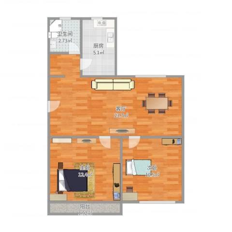 晶波坊2室1厅1卫1厨76.00㎡户型图