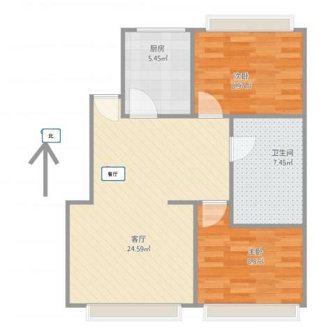 一品亦庄2室1厅1卫1厨74.00㎡户型图