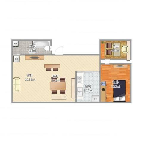 玉兰小区2室1厅1卫1厨76.00㎡户型图