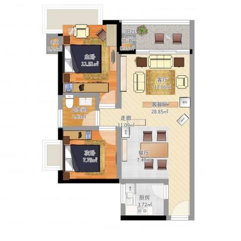 金碧雅苑2室1厅1卫1厨87.00㎡户型图