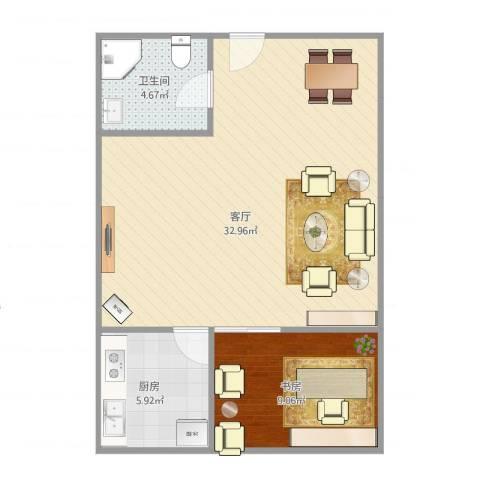 绿地北郊广场1室1厅1卫1厨70.00㎡户型图