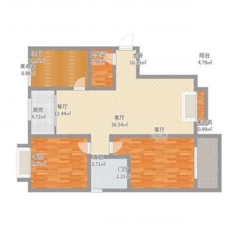 天泰文化苑2室1厅1卫1厨138.00㎡户型图