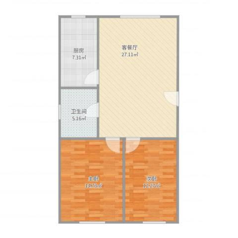 欣乐新村2室1厅1卫1厨89.00㎡户型图