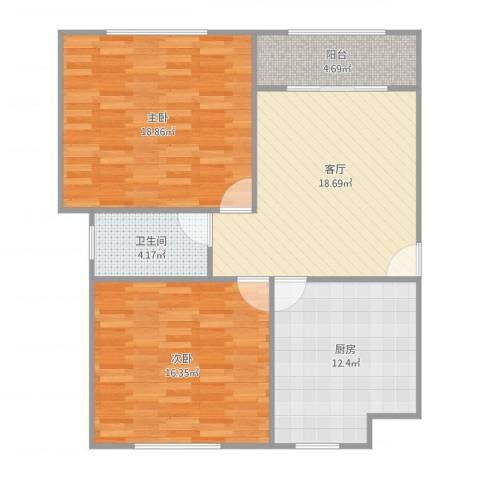 浦江东旭公寓2室1厅1卫1厨100.00㎡户型图