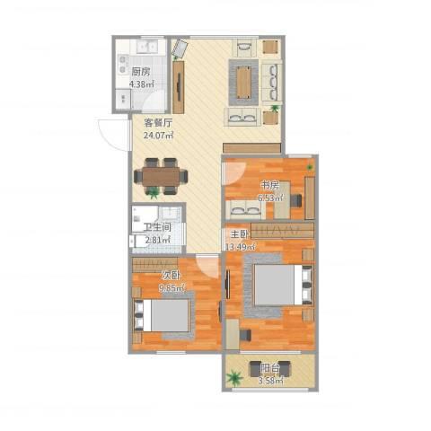银都花园3室1厅1卫1厨88.00㎡户型图