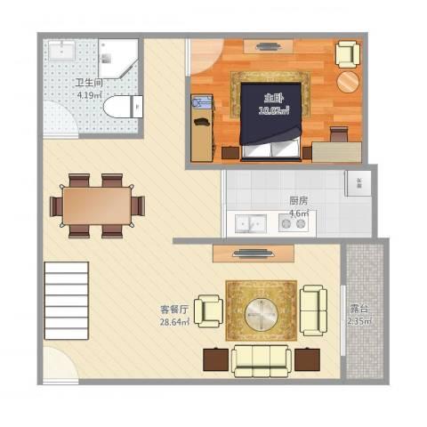 西城花园Y1-1F1室1厅1卫1厨67.00㎡户型图