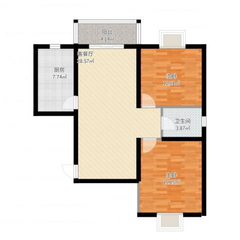 金茂晓苑2室1厅1卫1厨96.00㎡户型图