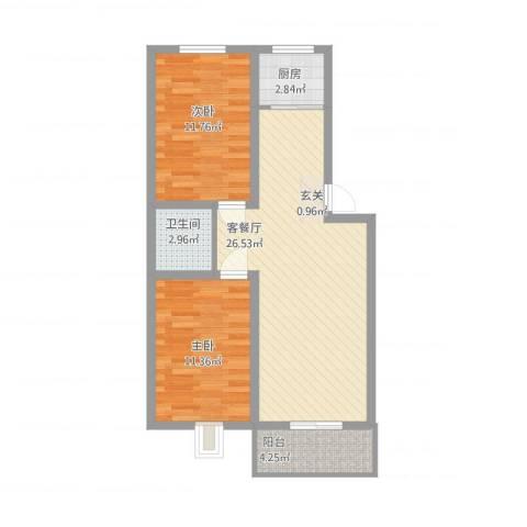 安欣家园2室1厅1卫1厨86.00㎡户型图