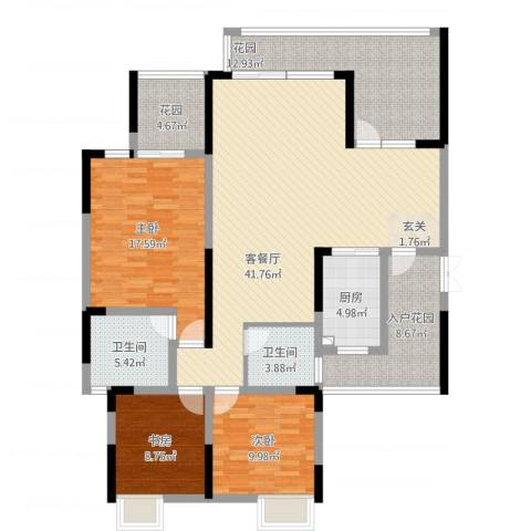万友七季城3室1厅2卫1厨171.00㎡户型图