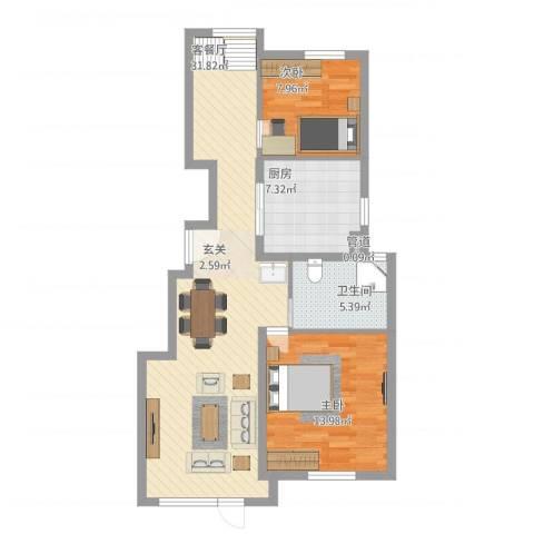 世茂维拉2室1厅1卫1厨95.00㎡户型图