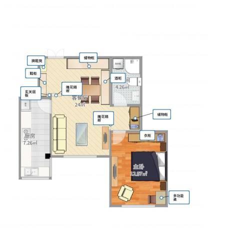 东城家园1室1厅1卫1厨64.00㎡户型图