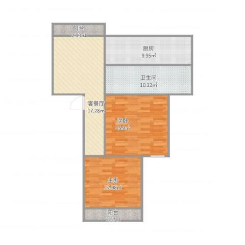 天极盛宅花园2室1厅1卫1厨95.00㎡户型图