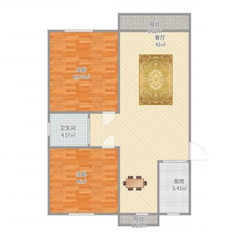 西镇小区2室1厅1卫1厨125.00㎡户型图
