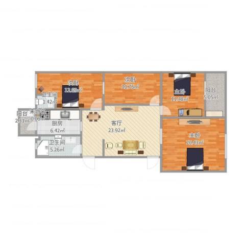 西三环北路109号院4室1厅2卫1厨137.00㎡户型图