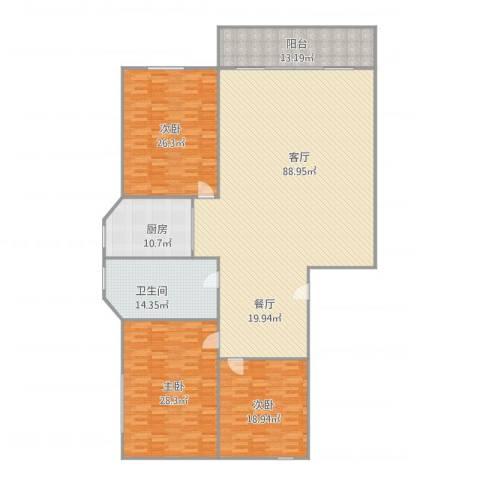 桃花园3室1厅1卫1厨209.89㎡户型图