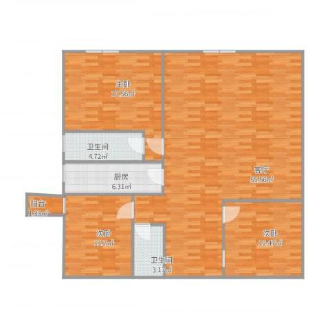月亮湾3室1厅2卫1厨150.00㎡户型图