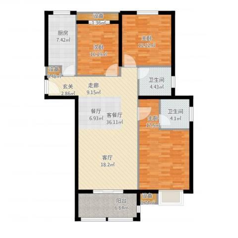 金上海湾3室1厅2卫1厨142.00㎡户型图