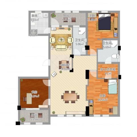 维科太子湾3室1厅2卫1厨165.00㎡户型图