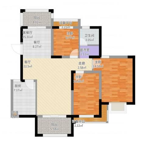 花样年别样城3室1厅1卫1厨131.00㎡户型图