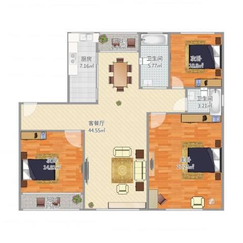 金榜新苑3室1厅2卫1厨160.00㎡户型图