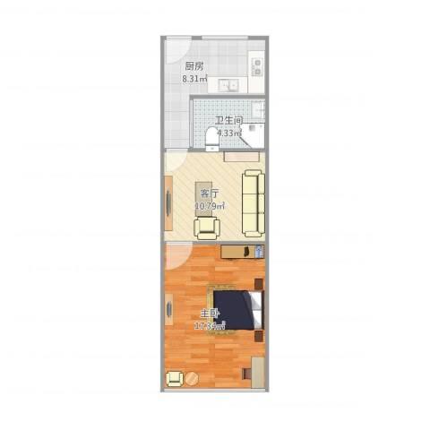 上大东村1室1厅1卫1厨55.00㎡户型图