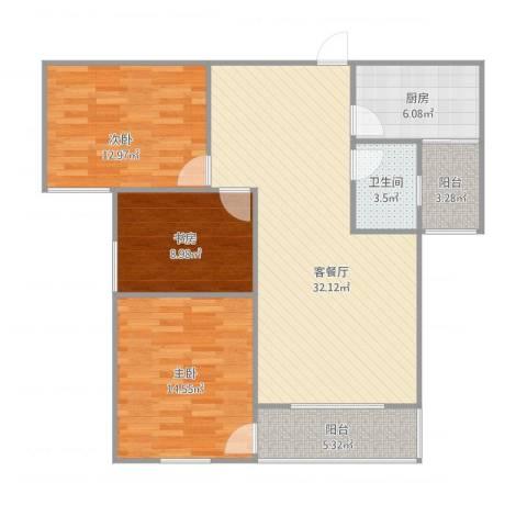 天瑞国际B3室1厅1卫1厨117.00㎡户型图