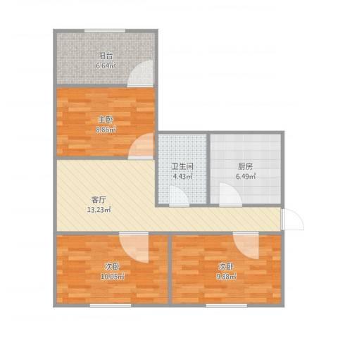 纬北小区3室1厅1卫1厨81.00㎡户型图