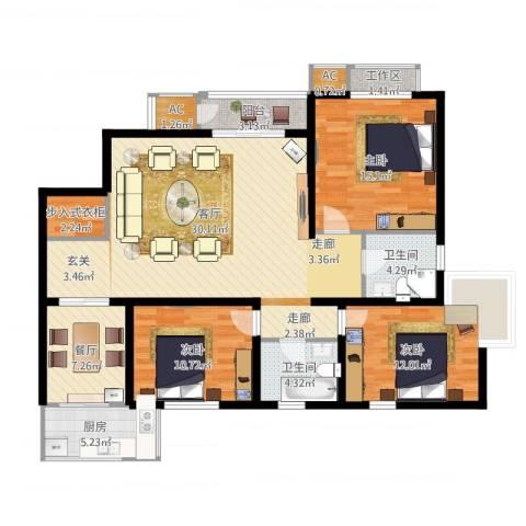 君悦府3室1厅2卫1厨152.00㎡户型图