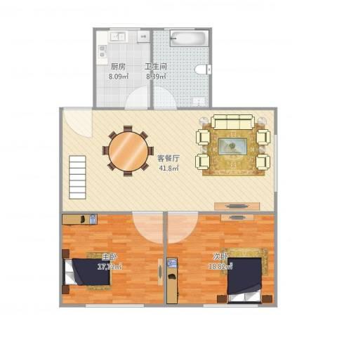 雍江星座2室1厅1卫1厨125.00㎡户型图