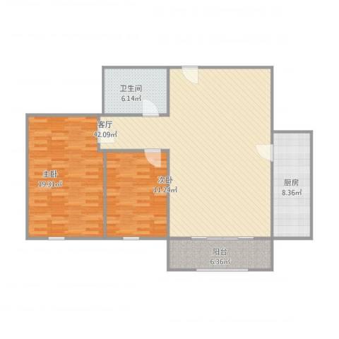海河大道瑞海名苑2室1厅1卫1厨124.00㎡户型图