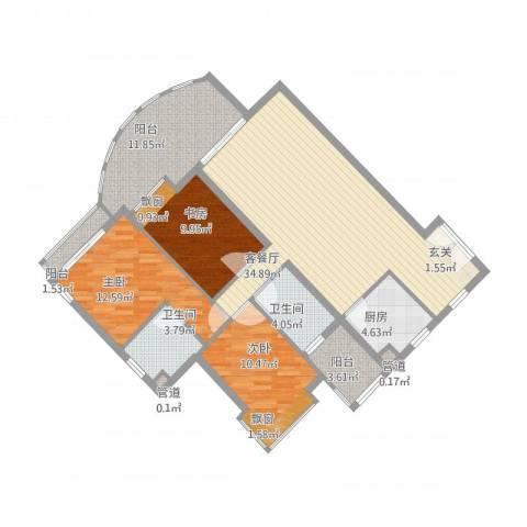 滨江明珠3室1厅4卫1厨109.96㎡户型图
