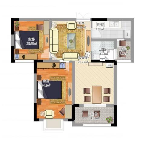 秦水名邸2室1厅1卫1厨91.00㎡户型图