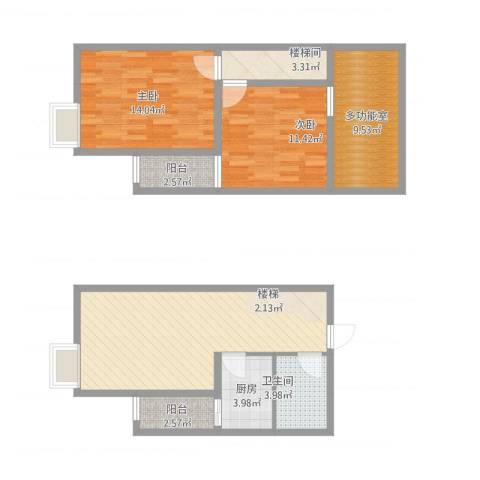 翠屏湾2期兰卡威小镇2室1厅1卫1厨105.00㎡户型图