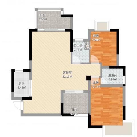 高信向日葵2室1厅2卫1厨101.00㎡户型图